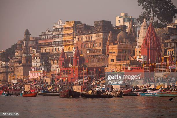 India, Uttar Pradesh, Varanasi, Ghats, boats and Ganges river