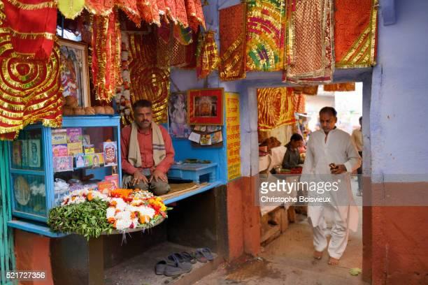India, Uttar Pradesh, Varanasi, Temple entrance