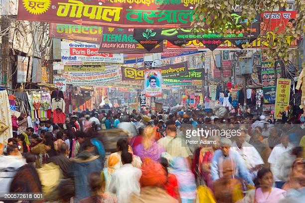 India, Varanasi, market (blurred motion)