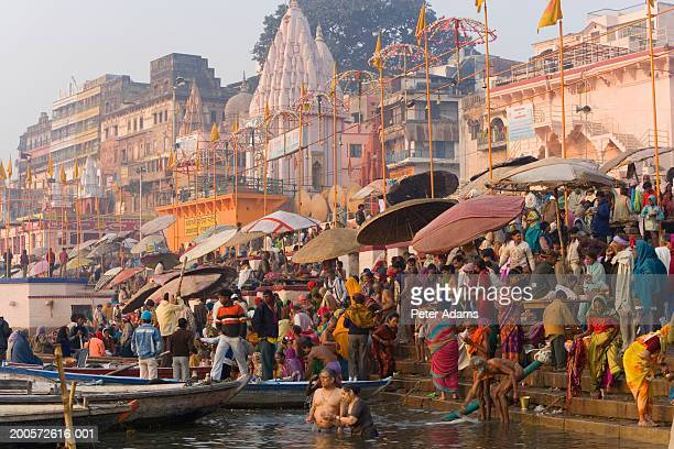 India, Varanasi, River Ganges, pilgrims bathing