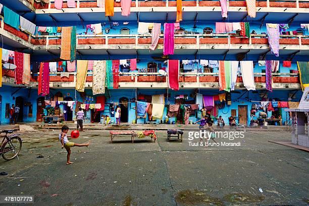 India, West Bengal, Kolkata, building courtyard
