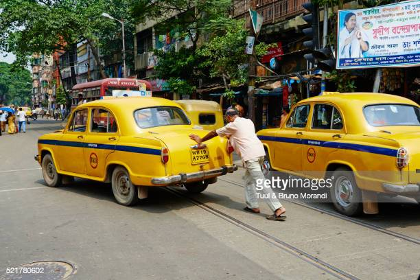 India, West Bengal, Kolkata, Calcutta, Yellow Ambassador taxis