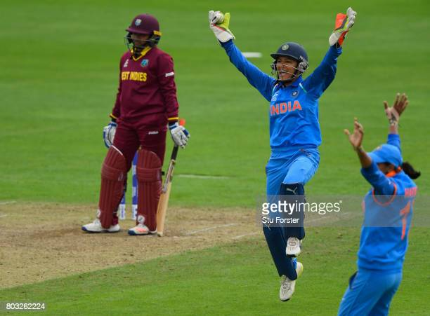 India wicketkeeper Sushma Verma appeals for a catch during the ICC Women's World Cup 2017 match between West Indies and India at The County Ground on...