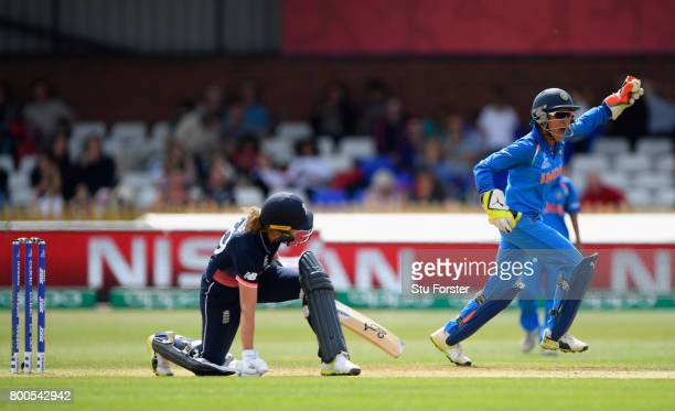 India wicketkeeper Sushma Verma celebrates after catching England batsman Natalie Sciver during the ICC Women's World Cup 2017 match between England...