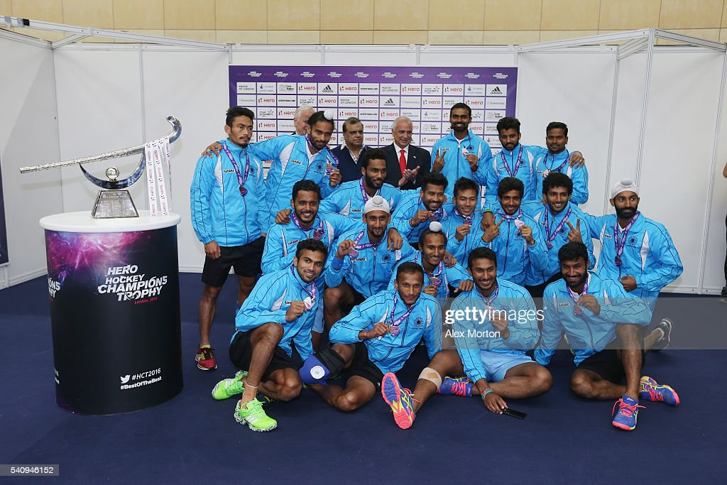 India with their second place medals during the FIH Mens Hero Hockey Champions Trophy 1st2nd place match between Australia and India at Queen...