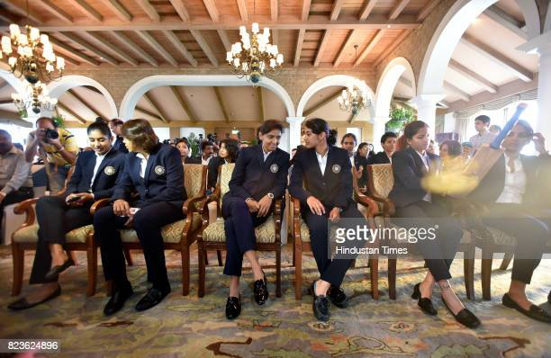 India Women's Cricket team players at a felicitating event at Taj Mansingh Hotel on July 27 2017 in New Delhi India Mithali Raj led India to the...