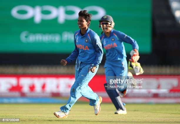 India Women's Deepti Sharma celebrates after bowling Australia Women's Alex Blackwell to win the ICC Women's World Cup Semi Final match at The County...