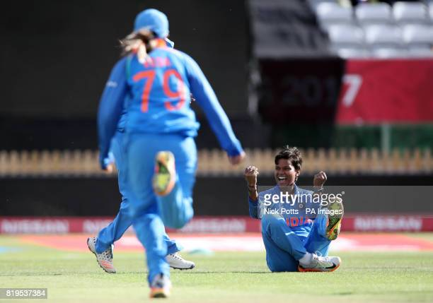 India Women's Deepti Sharma celebrates after catching and bowling Australia Women's Nicole Bolton during the ICC Women's World Cup Semi Final match...