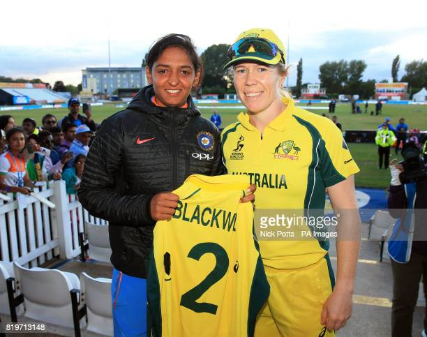 India Women's Harmanpreet Kaur and Australia Women's Alex Blackwell pose for a picture after the ICC Women's World Cup Semi Final match at The County...