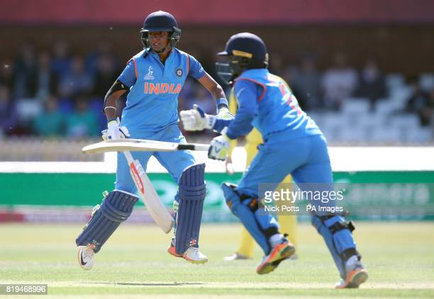 India Women's Harmanpreet Kaur and Deepti Sharma run between the wickets during the ICC Women's World Cup Semi Final match at The County Ground Derby