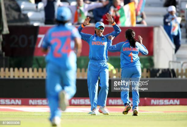 India Women's Smriti Mandhana celebrates after catching out Australia Women's Elyse Villani from the bowling of Rajeshwari Gayakwad during the ICC...
