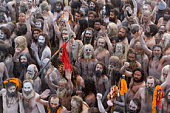 India,Allahabad,Kumbh Mela festival,Naga Sadhus returning from bathing