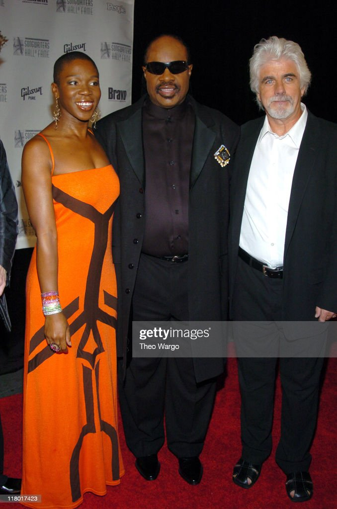 India.Arie, Stevie Wonder and Michael McDonald during 35th Annual Songwriters Hall of Fame Awards Induction - Arrivals at Mariott Marquis Hotel in New York City, New York, United States.