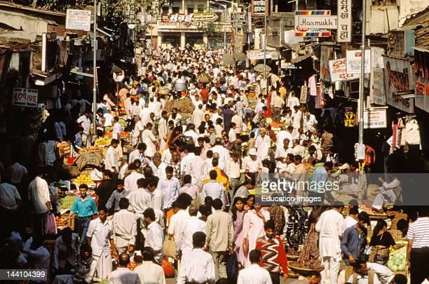IndiaMaharashtra Mumbai Bombay Dadar Crowded Street Market