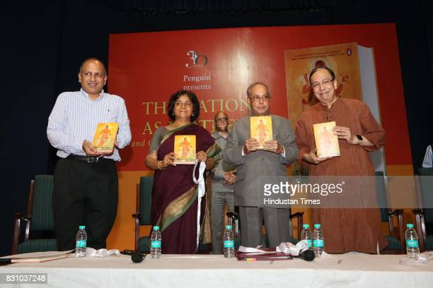 Indian academics Pratap Bhanu Mehta Seema Alavi former President of India Pranab Mukherjee and Sugata Bose during the launch of a book 'The Nation as...