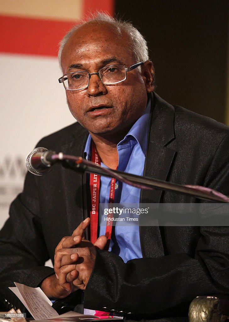 Indian activist and writer Kancha Ilaiah at the Jaipur Literature Festival on January 28, 2013 in Jaipur, India.