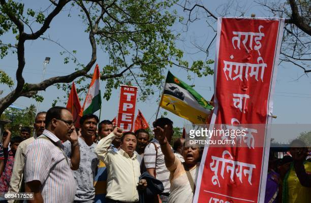 Indian activists of a Joint forum of Trade Unions of Tea garden industry of West Bengal shout slogans during a protest rally in Siliguri on April 17...