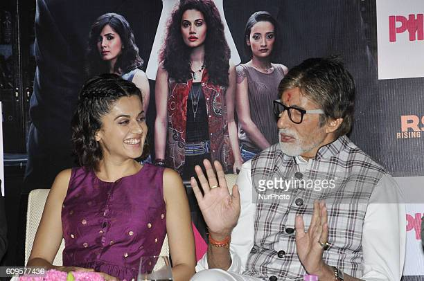 Indian Actor Amitabh Bachchan along Actress Taapsee Pannu during their New Film PINK promotion meet the press on September 21 2016 in Kolkata India