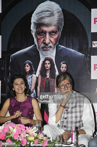 Indian Actor Amitabh Bachchan along Actress Taapsee Pannu during their New Film PINK promotion meet the press on September 212016 in Kolkata India