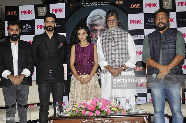 Indian Actor Amitabh Bachchan along Actress Taapsee Pannu Producer Shoojit Sircar to silent pay homage to Uri terrorist attack martyrs during the New...