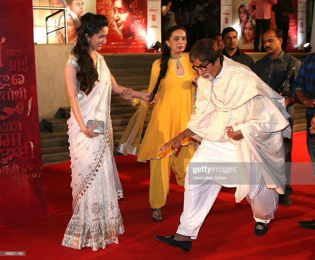 Indian actor Amitabh Bachchan enjoying lighter moments with Shraddha Kapoor and her mother Shivangi Kapoor during premier of Bollywood movie Mai at Cinemax on January 31, 2013 in Mumbai, India.