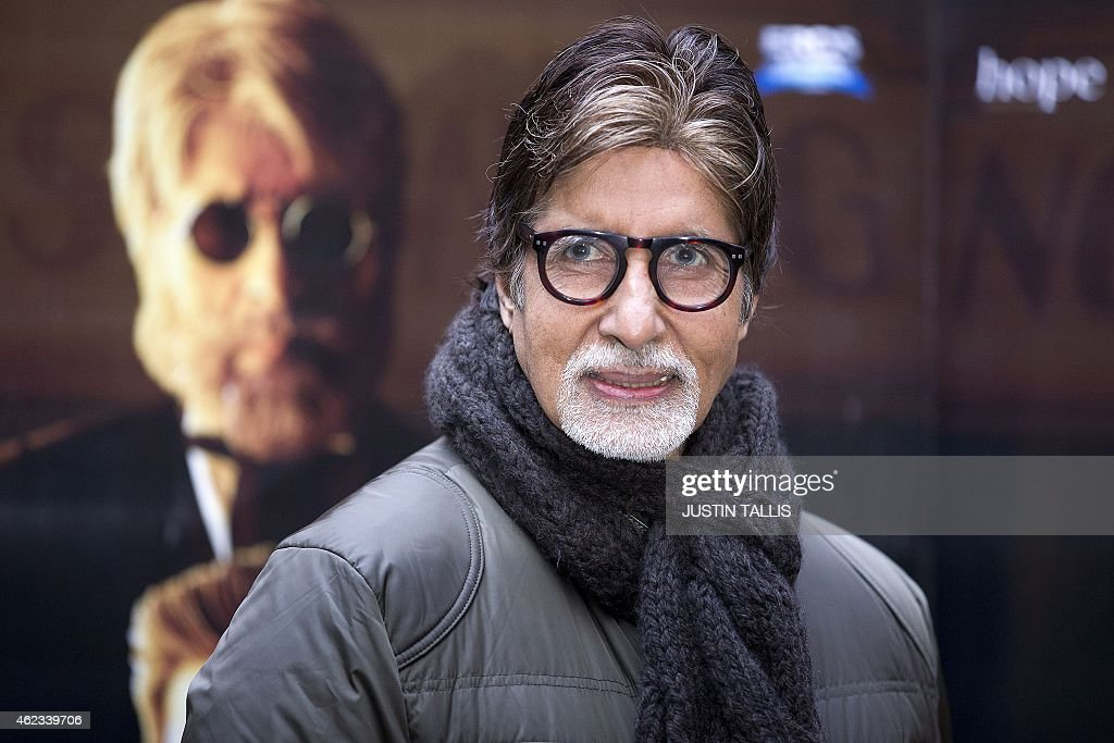 Indian actor <a gi-track='captionPersonalityLinkClicked' href=/galleries/search?phrase=Amitabh+Bachchan&family=editorial&specificpeople=220394 ng-click='$event.stopPropagation()'>Amitabh Bachchan</a> poses for photographers at a photocall for the film 'Shamitabh' in central London on Janurary 27, 2015. AFP PHOTO / JUSTIN TALLIS