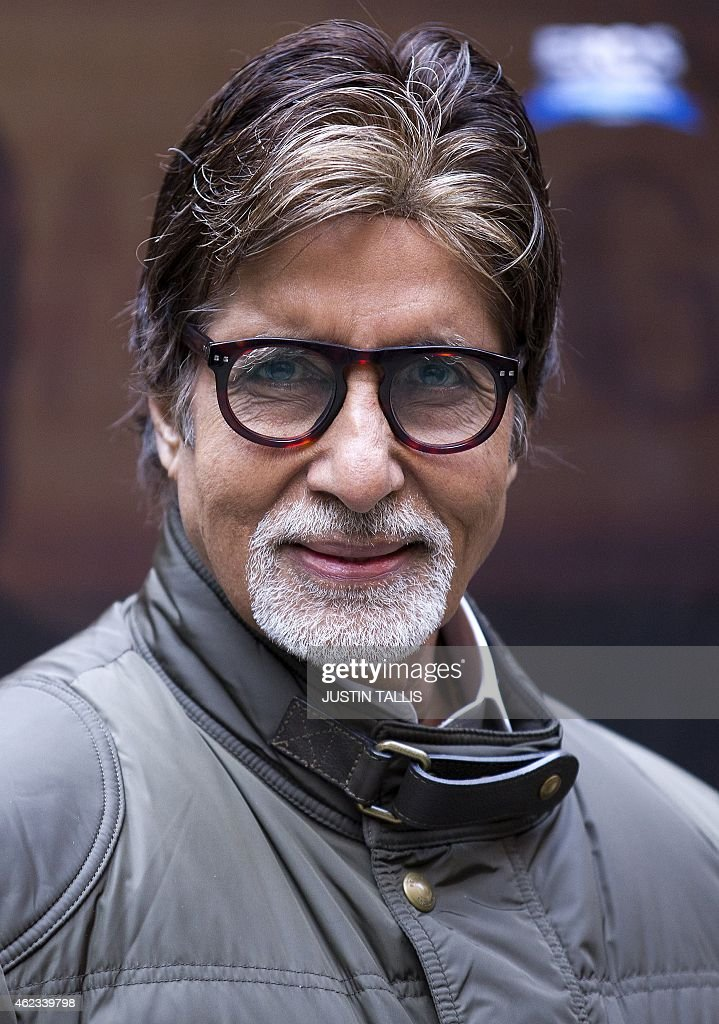 Indian actor <a gi-track='captionPersonalityLinkClicked' href=/galleries/search?phrase=Amitabh+Bachchan&family=editorial&specificpeople=220394 ng-click='$event.stopPropagation()'>Amitabh Bachchan</a> poses for photographers at a photocall for the film 'Shamitabh' in central London on January 27, 2015. AFP PHOTO / JUSTIN TALLIS