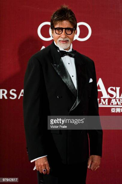 Indian actor Amitabh Bachchan poses on the red carpet for the 4th Asian Film Awards ceremony at the Convention and Exhibition Centre on March 22 2010...