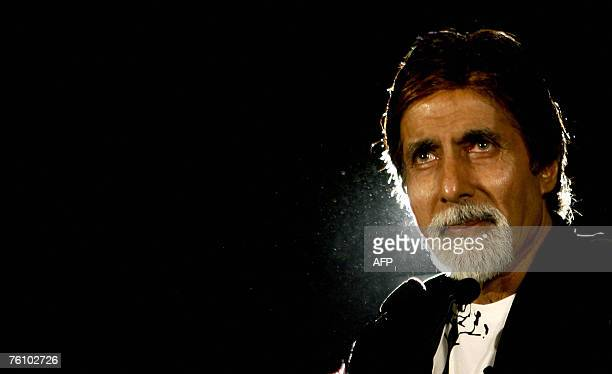 Indian actor Amitabh Bachchan speaks during a promotional event for his forth coming movie 'Ram Gopal Varma ki Aag' in Mumbai late 14 August 2007 The...