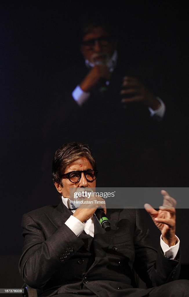 Indian actor Amitabh Bachchan speaks on 'The Hermit & The Emperor: Amitabh Bachchan And The Road Not Taken' on the opening day of THiNK 2013 at Bambolim on November 8, 2013 in Goa, India.