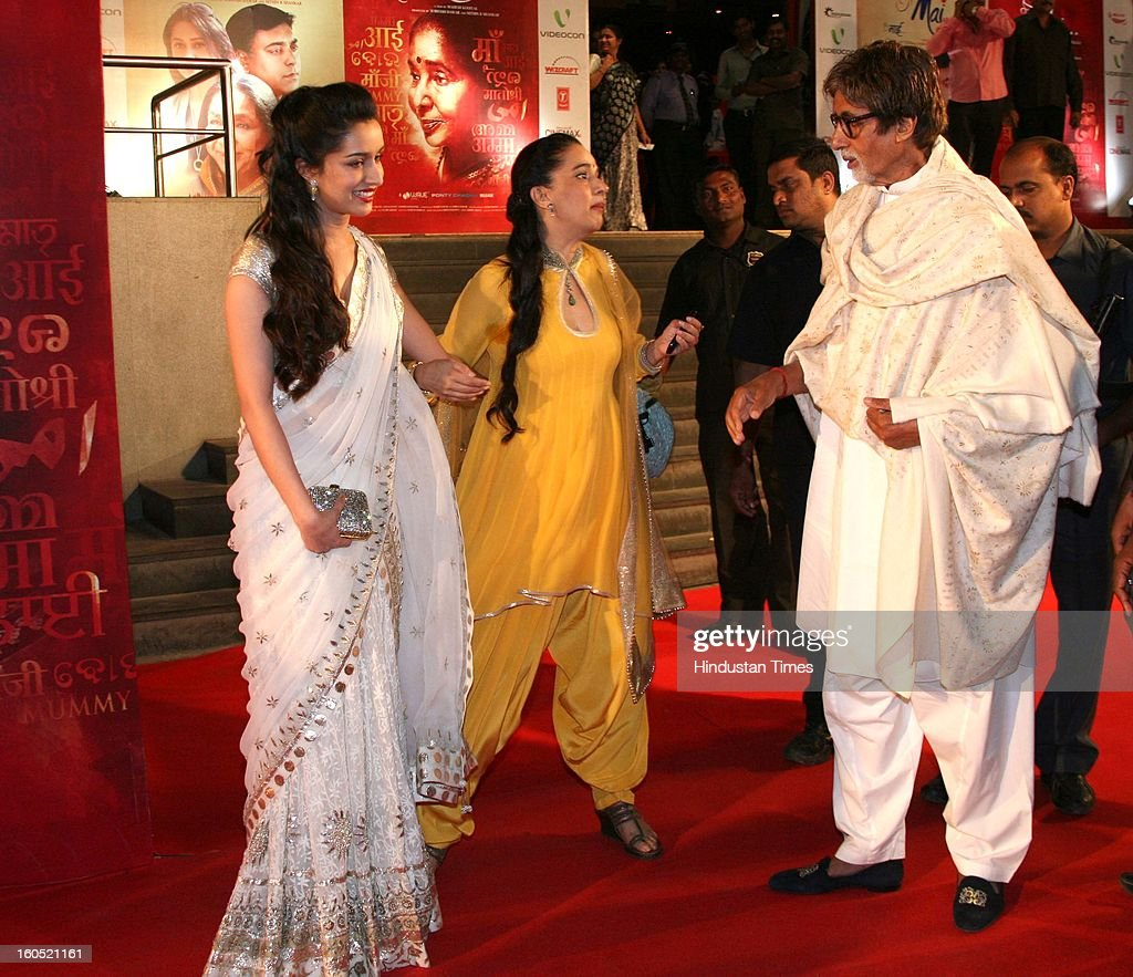 Indian actor Amitabh Bachchan with Shraddha Kapoor and her mother Shivangi Kapoor during premier of Bollywood movie Mai at Cinemax on January 31, 2013 in Mumbai, India.