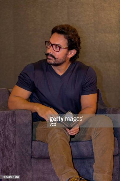 Indian actor and producer Aamir Khan attends the press conference of Bollywood director Nitesh Tiwari's film 'Dangal' during the 2017 Beijing...