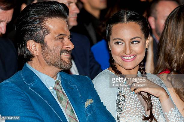 Indian actor Anil Kapoor and actress Sonakshi Sinha attend the press conference for the 17th edition of IIFA Awards at the Palace Hotel on June 23...