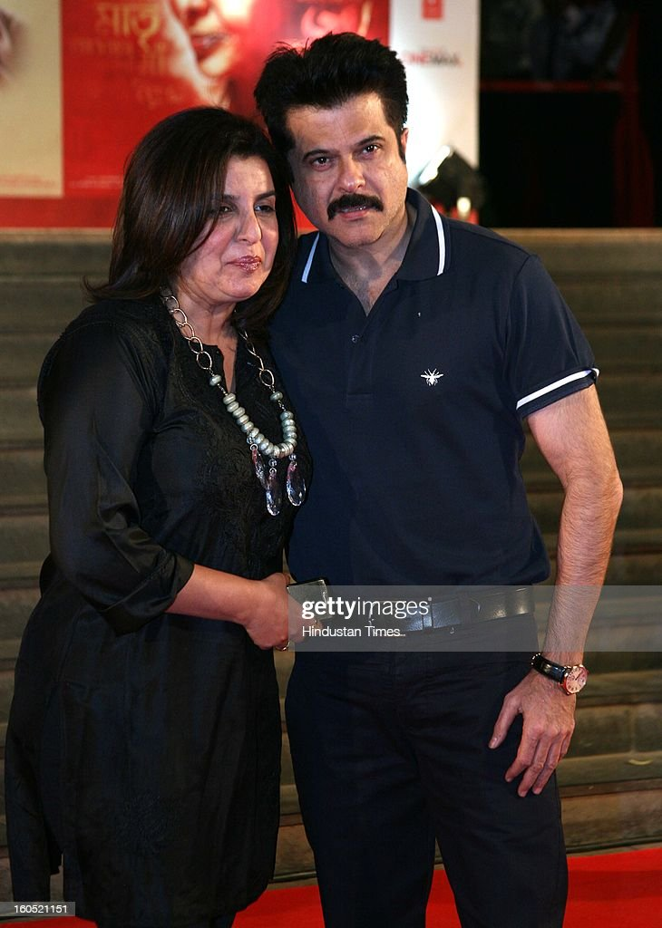 Indian actor Anil Kapoor with choreographer Farah Khan during premier of Bollywood movie Mai at Cinemax on January 31, 2013 in Mumbai, India.