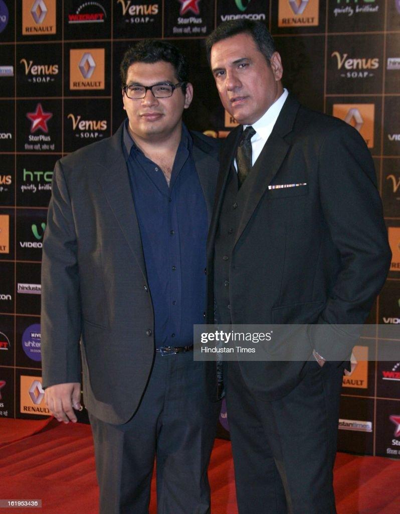 Indian actor Boman Irani with his son Kayoze Irani during Star Guild awards at Yash raj Studio, Andheri on February 16, 2013 in Mumbai, India.