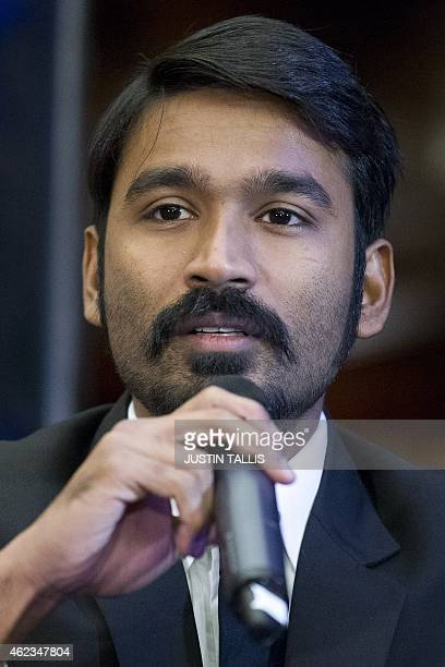 Indian actor Dhanush attends a press conference to promote the film 'Shamitabh' in central London on January 27 2015 AFP PHOTO / JUSTIN TALLIS