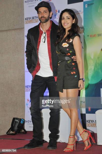 Indian Actor Hrithik Roshan and Actress Yami Gautam during the meet the press to promote her New Film KAABIL on February 032017 in KolkataIndia