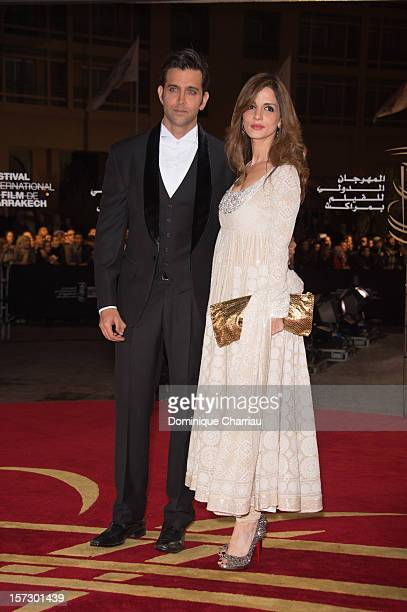 Indian actor Hrithik Roshan and Indian actress Tabu arrive for the tribute to Hindi cinema at the 12th Marrakech International Film Festival...