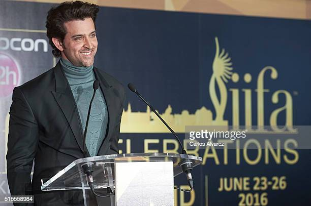 Indian actor Hrithik Roshan attends the 17th International Indian Film Academy awards press conference at the Retiro Park on March 14 2016 in Madrid...