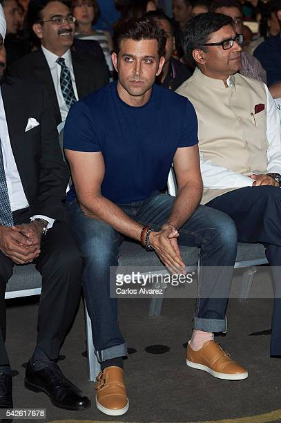 Indian actor Hrithik Roshan attends the press conference for the 17th edition of IIFA Awards at the Palace Hotel on June 23 2016 in Madrid Spain