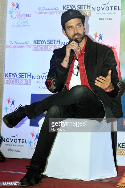 Indian Actor Hrithik Roshan during the meet the press to promote her New Film KAABIL on February 032017 in KolkataIndia
