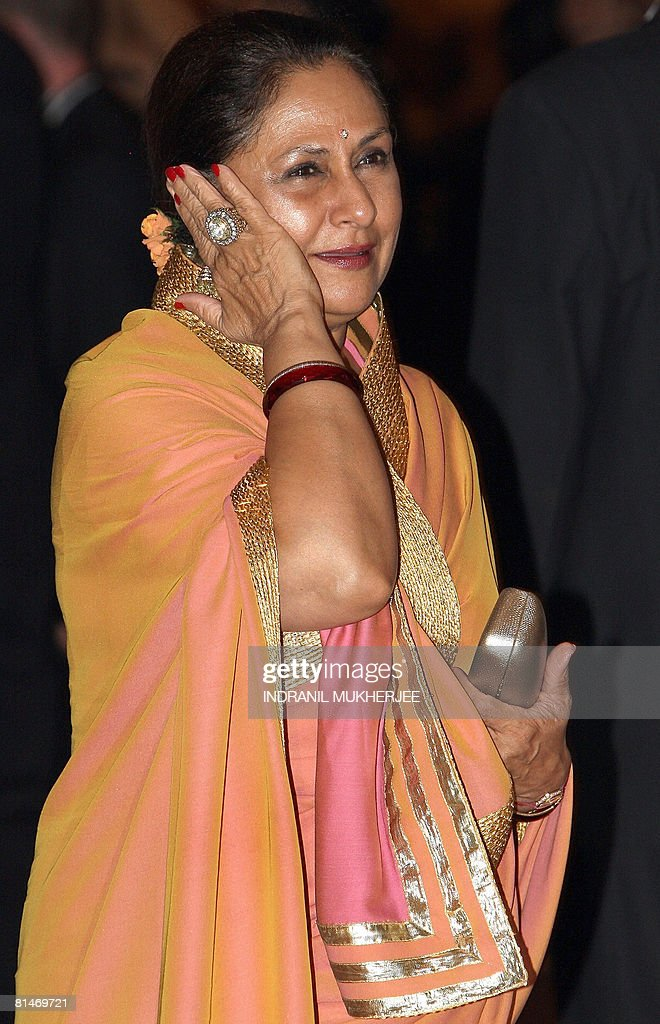 Indian actor <a gi-track='captionPersonalityLinkClicked' href=/galleries/search?phrase=Jaya+Bachchan&family=editorial&specificpeople=1026829 ng-click='$event.stopPropagation()'>Jaya Bachchan</a> reacts as she arrives for the World Premiere of the film 'Sarkar Raj' (Absolute Ruler) on the first day of the International Indian Film Academy (IIFA) Awards 2008, a three-day long Bollywood extravaganza, in Bangkok on June 6, 2008. IIFA - one the most respected South Asian film academy - is a movement aimed to bring together the worlds of Indian and International Cinema and business on one common global platform. IIFA weekend Bangkok 2008, in its ninth year, will see its culmination with the coveted IDEA IIFA Awards 2008 on June 8. AFP PHOTO/Indranil MUKHERJEE