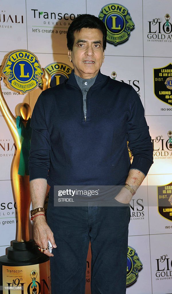 Indian actor Jeetendra poses during the Lions Gold Awards ceremony in Mumbai on January 16, 2013.