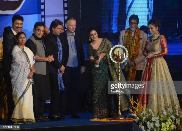 Indian Actor Kajol lights the lamp with Amitabh Bachchan Kamal Hasan Shah Rukh Khan West Bengal Chief minister Mamata Banerjee during the...