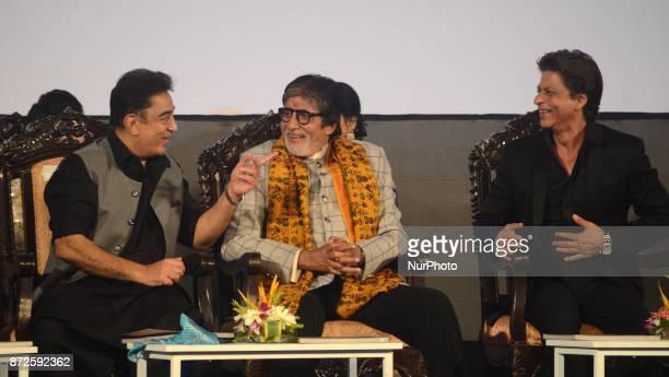 Indian Actor Kamal Hasan Amitabh Bachchan and Shah Rukh Khan sharing moments during the inauguration ceremony of 23rd Kolkata International Film...
