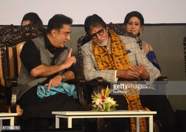 Indian Actor Kamal Hasan and Amitabh Bachchan sharing moments during the inauguration ceremony of 23rd Kolkata International Film Festival in Kolkata...