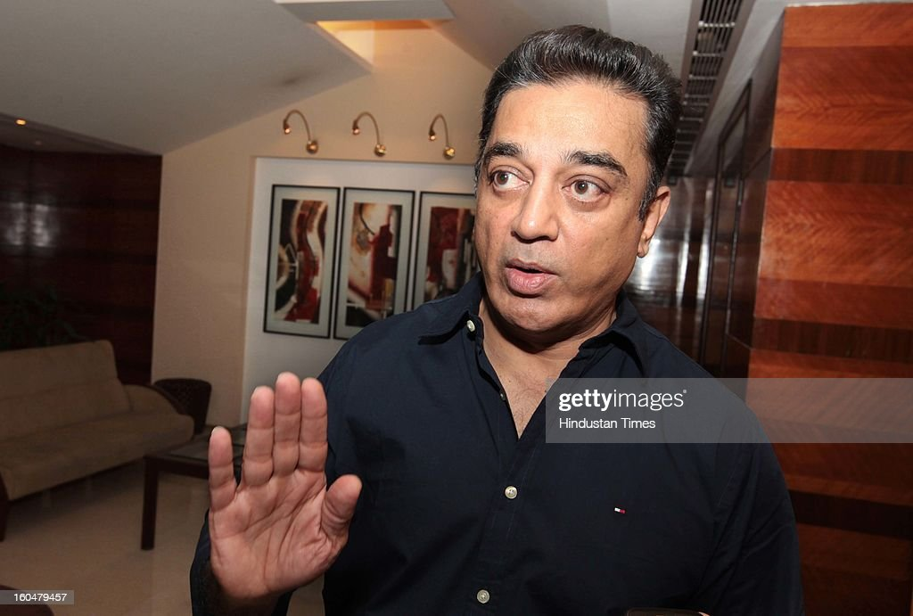 Indian actor Kamal Hasan during his meeting with some Muslim leaders to discuss the controversy regarding his film Vishwaroobam at Hotel Sun n Sand...
