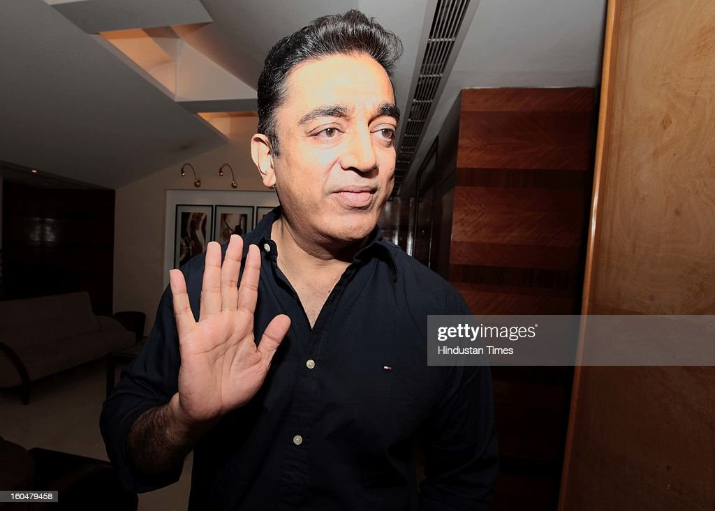 Indian actor Kamal Hasan during his meeting with some Muslim leaders to discuss the controversy regarding his film Vishwaroobam at Hotel Sun n Sand, Juhu, on February 1, 2013 in Mumbai, India. 'Vishwaroopam' was banned in Tamil Nadu with some Muslim groups taking objection to certain scenes in the movie as hurting their religious sentiments.