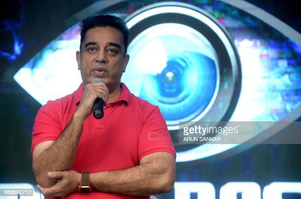 Indian actor Kamal Hassan takes part in a promotional event for a reality television show in Chennai on May 26 2017 / AFP PHOTO / ARUN SANKAR
