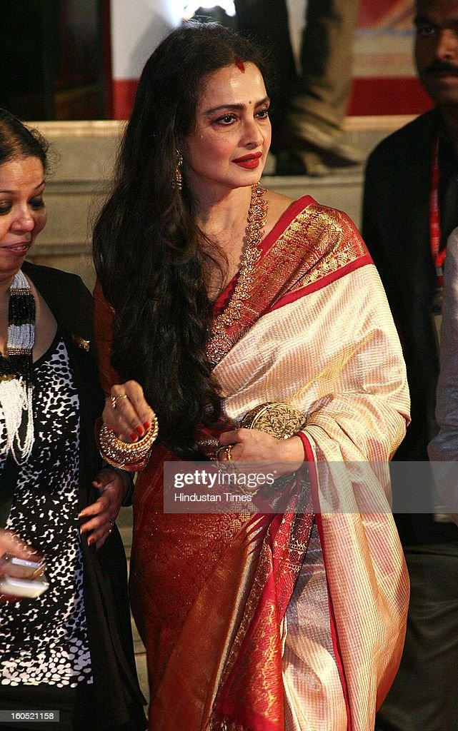 Indian actor Rekha during premier of Bollywood movie Mai at Cinemax on January 31, 2013 in Mumbai, India.